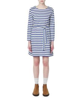 Stripes self-tie belted dress