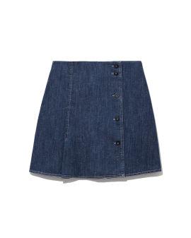 Buttoned denim skirt