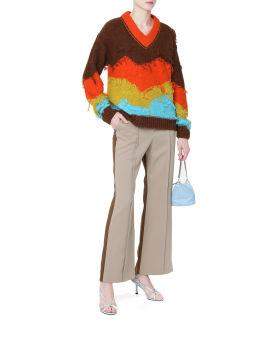 Frayed colour block sweater