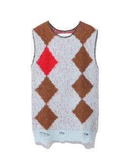 Diamond intarsia knit vest