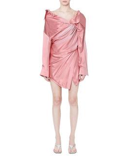 Draped silk asymmetric corset dress