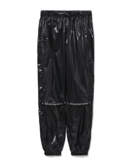Logo taped faux leather pants