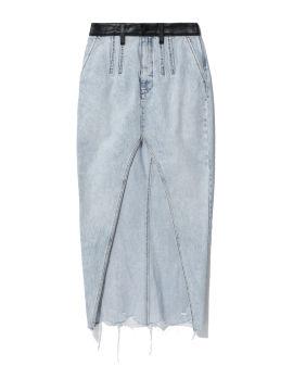 Maxi high slit denim skirt