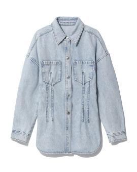 Cinched waist denim shirt