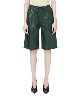 Drawstring leather shorts