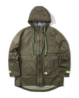 Contrast drawstring hooded jacket