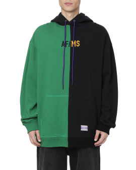 Colour blocked logo hoodie