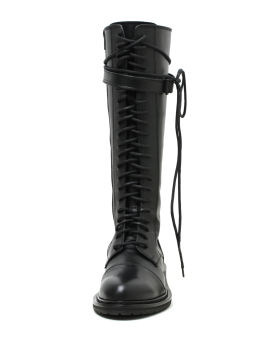 Lace-up riding leather boots