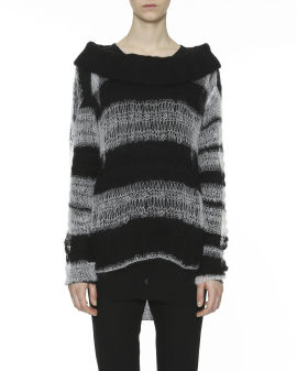 Dip dye effect hollow-out knit sweater