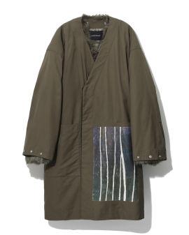 Fur trim wrap coat