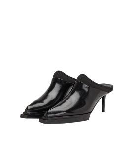 Leather heeled mules