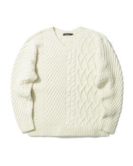 Split cable-knit sweater