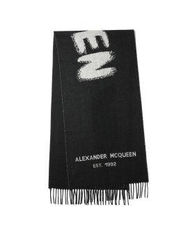 Oversize logo graffiti wool scarf