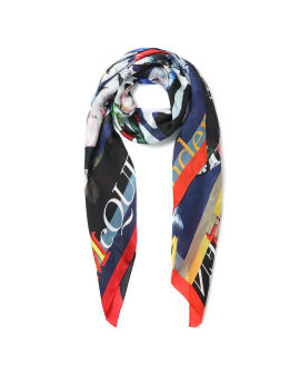 Skull and floral print silk scarf