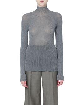 Lurex turtleneck knit top