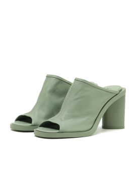 Open toe leather mules