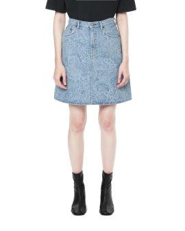 Paisley denim skirt