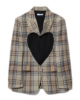 Heart cut-out plaid blazer