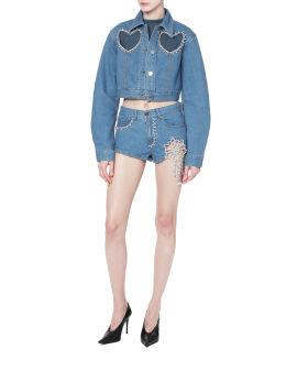 Crystal embellished denim shorts