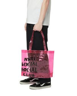 Sheer logo print tote bag