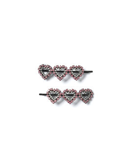 Embellished heart hairpins