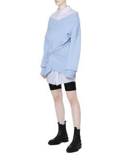 Spliced knit shirt dress