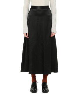 Satin waistband A-line skirt