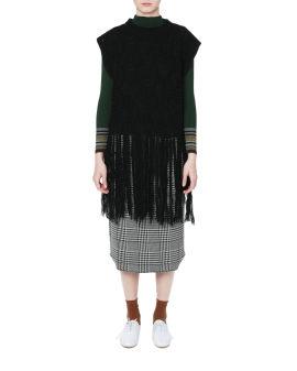 Embroidery fringe vest