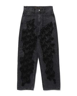 Floral lace panelled jeans
