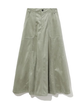 Relaxed suede A-line skirt