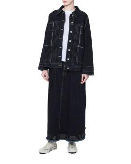 A-line denim skirt