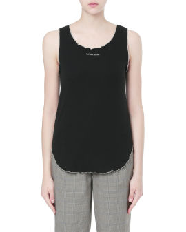 Embroidered lettuce-trimmed tank top