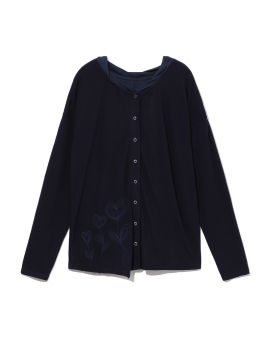 Panelled embroidered button top