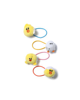 LINE FRIENDS MEETS :CHOCOOLATE characters plush hair tie set - 4 pack