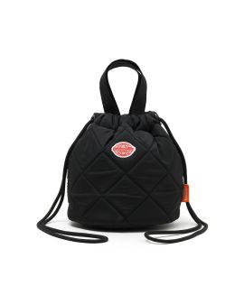 Embroidered badge drawstring top handle bag