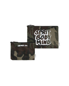 Slogan print camo pouch - 2 pack