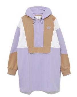 Colour block hooded dress