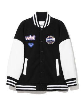 Badge embellished baseball jacket