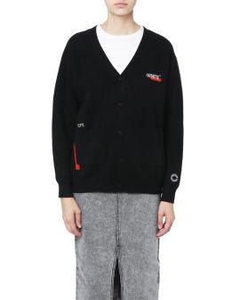 :WHITE knit cardigan