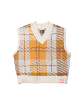 Check knitted vest
