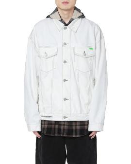 Check hood denim jacket