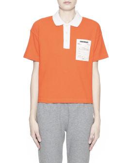 Colour block graphic print polo shirt