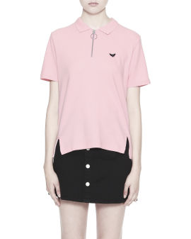 Bat embroidered zip polo