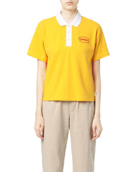 Emblem print polo shirt