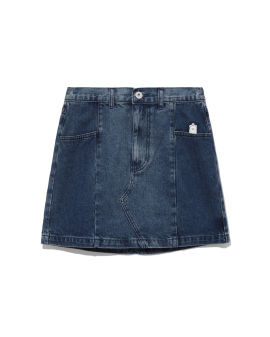 Alpaca badge denim mini skirt