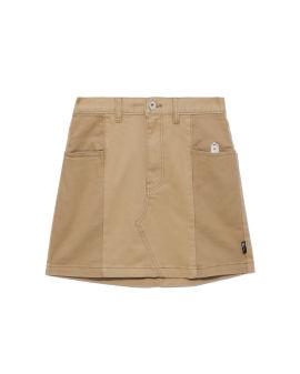 Alpaca badge twill mini skirt