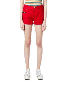 Logo patch denim shorts