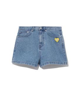 Heart patch denim shorts