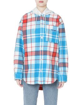 Plaid hooded overshirt