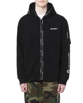 Camo logo tape zip hoodie